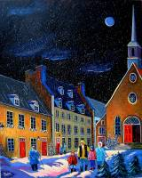 Snow night in Old Québec by Louise Marion
